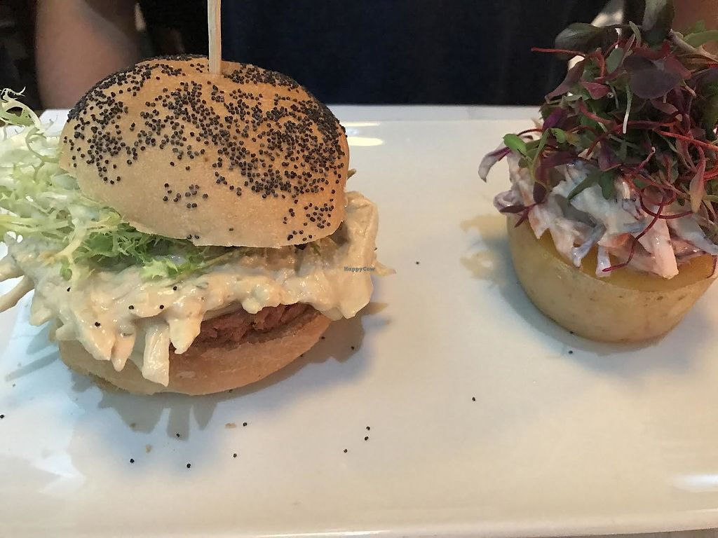 """Photo of Bon Lloc  by <a href=""""/members/profile/annatravelsvegan"""">annatravelsvegan</a> <br/>Vegan burger with hoisin sauce served with red cabbage coleslaw and roasted potato <br/> June 29, 2017  - <a href='/contact/abuse/image/1155/274739'>Report</a>"""