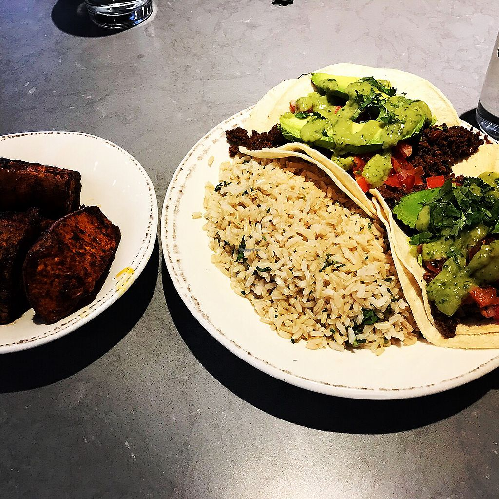 """Photo of Agra Culture  by <a href=""""/members/profile/KarenTatur"""">KarenTatur</a> <br/>Vegan Chorizo Tacos & Yams <br/> March 25, 2018  - <a href='/contact/abuse/image/115614/375623'>Report</a>"""