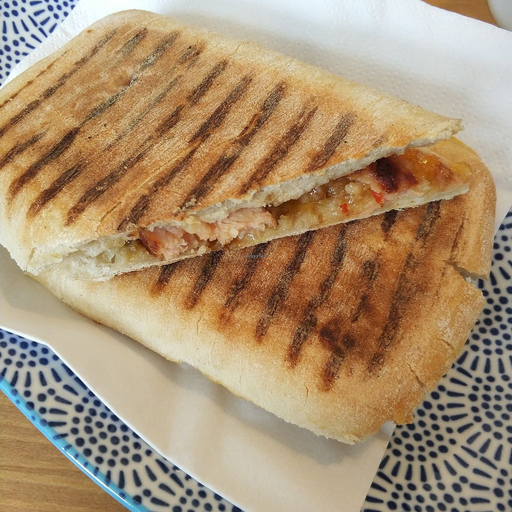 """Photo of Meow Cafe  by <a href=""""/members/profile/madhatterspantry"""">madhatterspantry</a> <br/>Sausage and Caramelised Onion Panini <br/> April 15, 2018  - <a href='/contact/abuse/image/115728/386250'>Report</a>"""