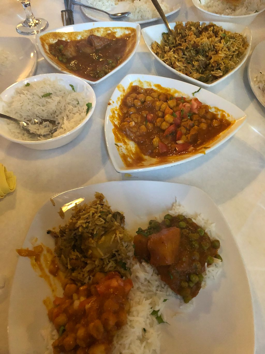 "Photo of Shahi Palace  by <a href=""/members/profile/Jadediana"">Jadediana</a> <br/>Sharing: Alu Mater, Vegetable Biryani, and Chana Masala  <br/> April 7, 2018  - <a href='/contact/abuse/image/115816/382152'>Report</a>"
