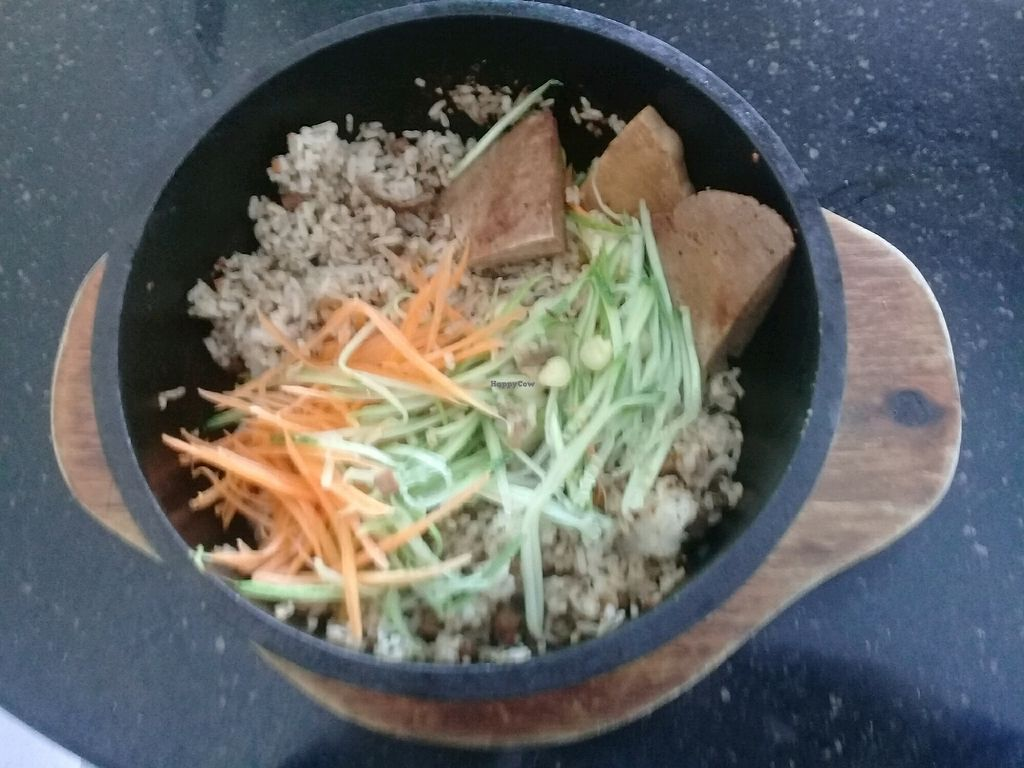 """Photo of Monorom Garden  by <a href=""""/members/profile/WayneLogue"""">WayneLogue</a> <br/>Stone pot rice with bbq sauce....and bit of the fake meat stuff <br/> March 18, 2018  - <a href='/contact/abuse/image/11581/372233'>Report</a>"""