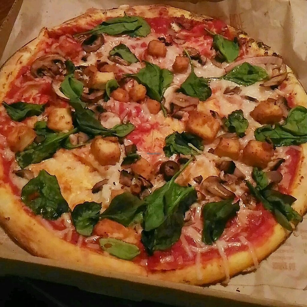 """Photo of Blaze Pizza  by <a href=""""/members/profile/QuothTheRaven"""">QuothTheRaven</a> <br/>vegan pizza with vegan cheese, popcorn chickn, spinach and mushrooms.  <br/> March 27, 2018  - <a href='/contact/abuse/image/115838/376859'>Report</a>"""