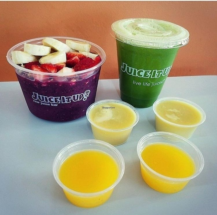 """Photo of Juice It Up  by <a href=""""/members/profile/StephanieWilson"""">StephanieWilson</a> <br/>Açaí bowl, invigorator smoothie, ginger shots and vit c shots <br/> March 27, 2018  - <a href='/contact/abuse/image/115893/376960'>Report</a>"""