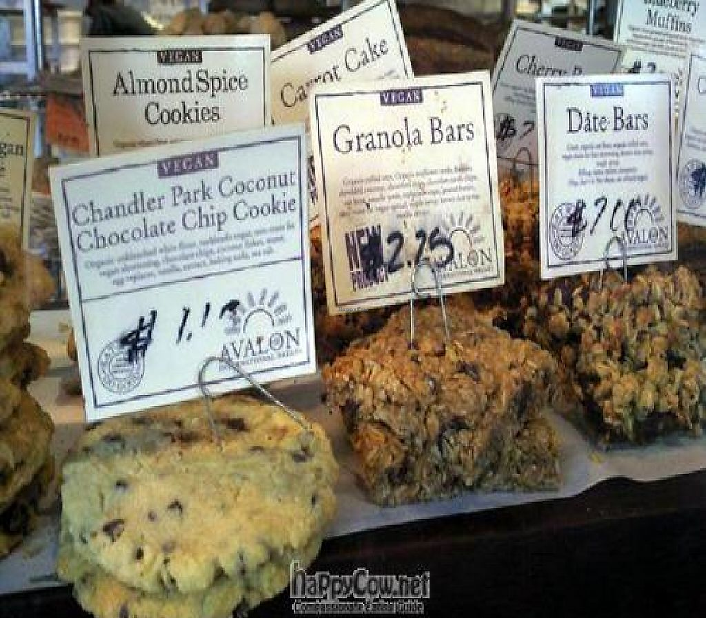"""Photo of Avalon  by <a href=""""/members/profile/happycowgirl"""">happycowgirl</a> <br/>vegan paradise: coconut chocolate chip, granola bars, date bars, almond spice cookies, carrot cake, oatmeal raisin cookies, cherry bar... all vegan! <br/> June 20, 2011  - <a href='/contact/abuse/image/11599/204212'>Report</a>"""