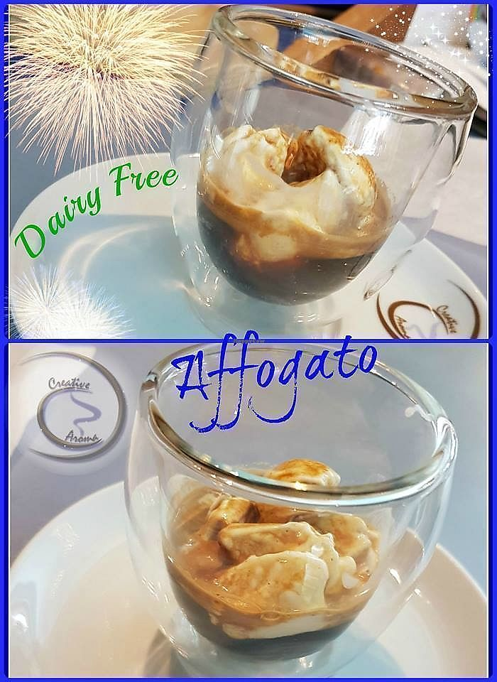 """Photo of Creative Aroma  by <a href=""""/members/profile/Happ1lyVegan"""">Happ1lyVegan</a> <br/>Deliciously Dairy Free Affogato - Coffee & Ice Cream <br/> April 3, 2018  - <a href='/contact/abuse/image/116018/380219'>Report</a>"""