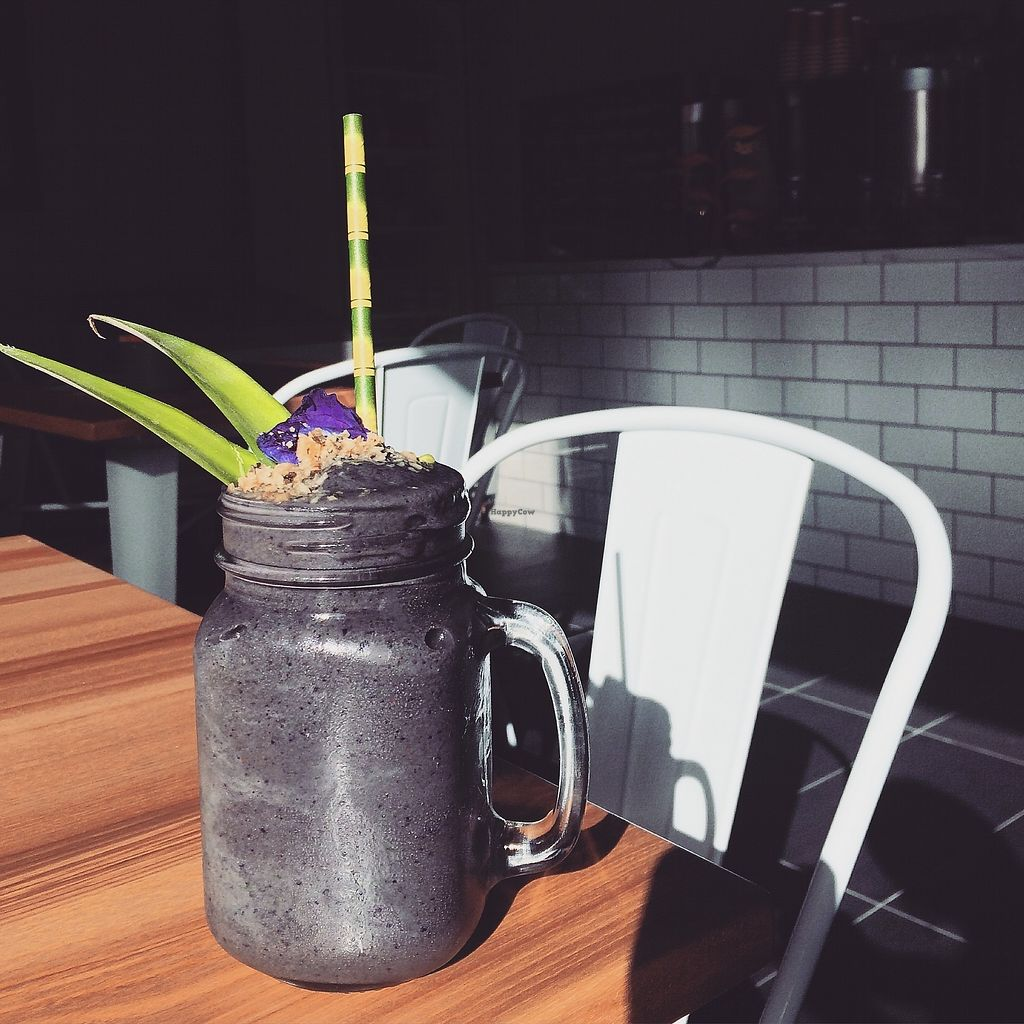 """Photo of Sattva Cafe  by <a href=""""/members/profile/GayatriPhillips"""">GayatriPhillips</a> <br/>Super Dark Detox Smoothie <br/> April 11, 2018  - <a href='/contact/abuse/image/116061/383606'>Report</a>"""
