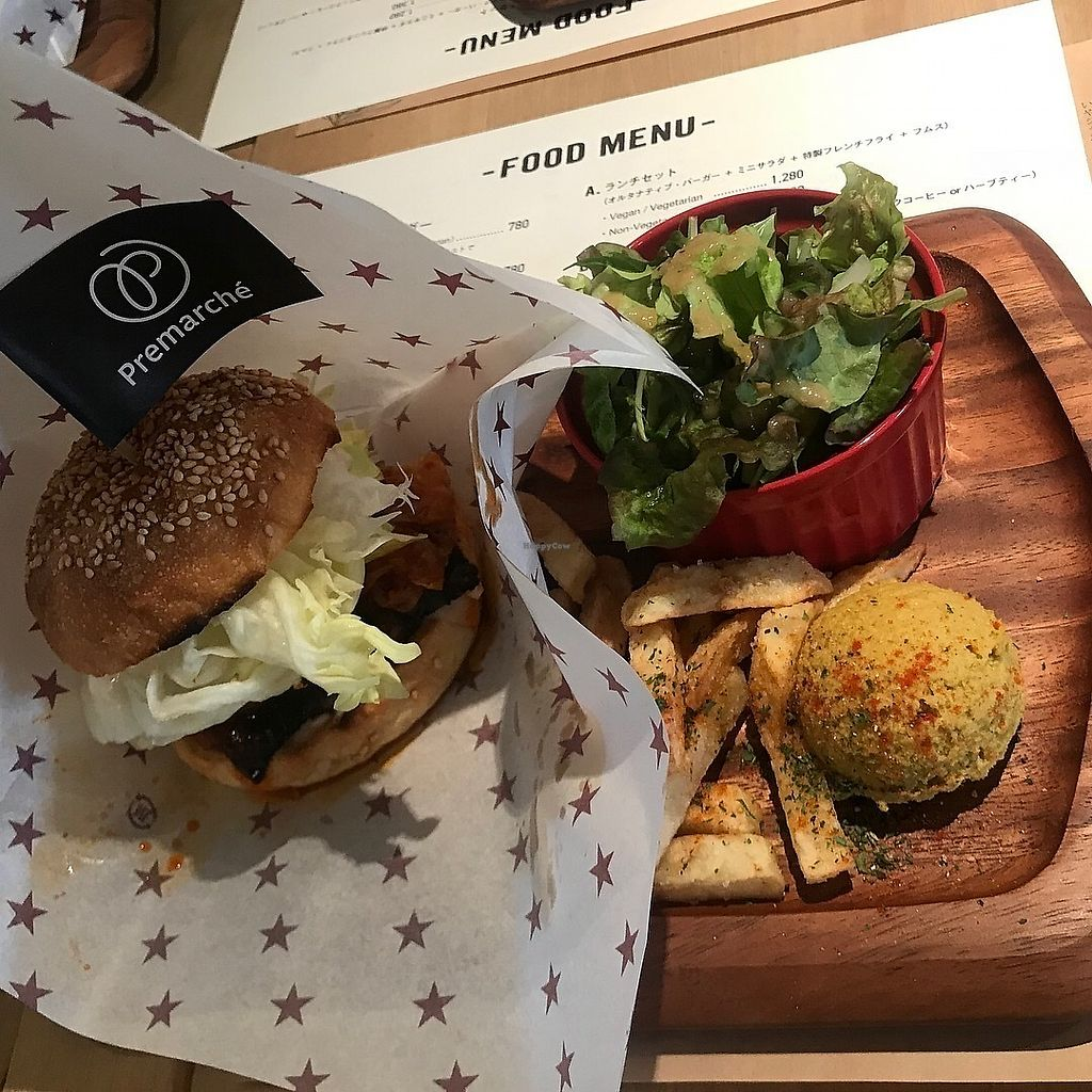 """Photo of Premarche Pizzeria and Alternative Junk Food  by <a href=""""/members/profile/kat.ross"""">kat.ross</a> <br/>Burger lunch plate <br/> March 29, 2018  - <a href='/contact/abuse/image/116066/377667'>Report</a>"""