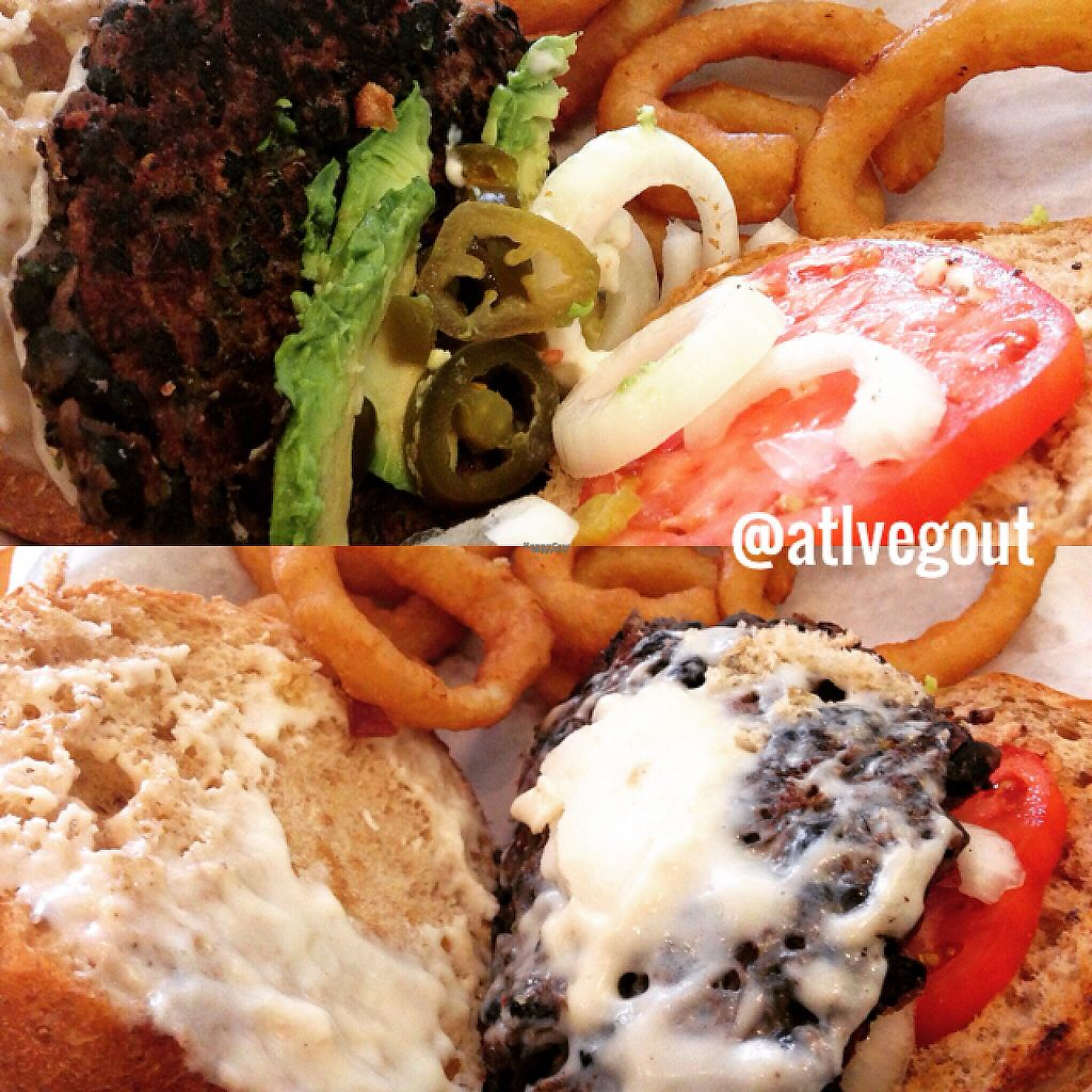 """Photo of Vegetarian Paradise  by <a href=""""/members/profile/calamaestra"""">calamaestra</a> <br/>black bean burger with onion rings and veg cheeze  <br/> April 28, 2017  - <a href='/contact/abuse/image/11613/253420'>Report</a>"""