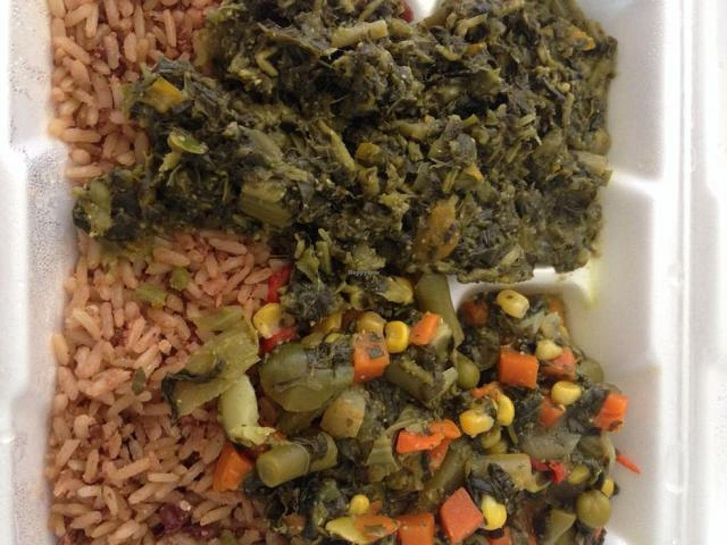 """Photo of Vegetarian Paradise  by <a href=""""/members/profile/calamaestra"""">calamaestra</a> <br/>spinach, brown rice and steamed veggies <br/> July 16, 2014  - <a href='/contact/abuse/image/11613/74206'>Report</a>"""