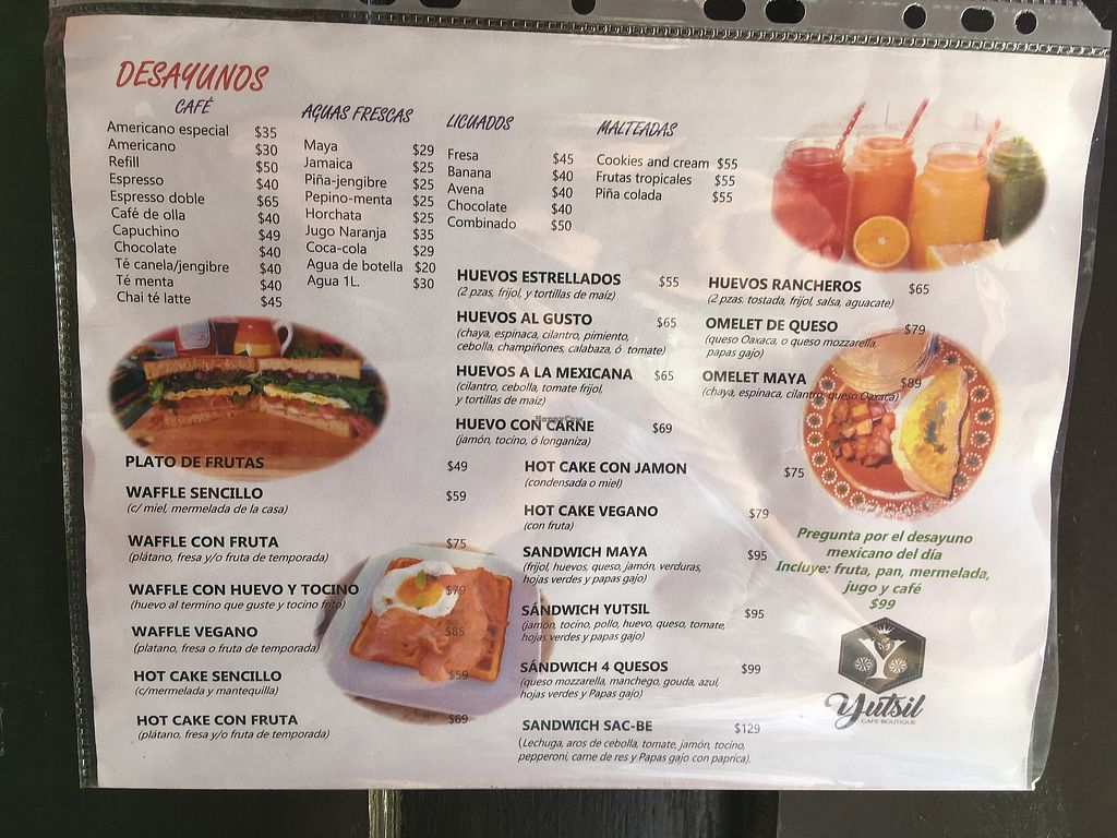 """Photo of Yutsil Cafe Boutique  by <a href=""""/members/profile/Hellavegan"""">Hellavegan</a> <br/>Menu <br/> March 31, 2018  - <a href='/contact/abuse/image/116163/379087'>Report</a>"""