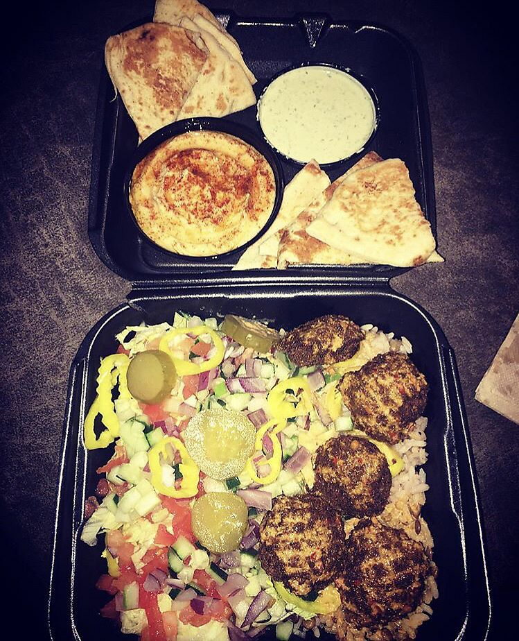 """Photo of Mezze Mediterreanean Cuisine  by <a href=""""/members/profile/Tabgreenvegan"""">Tabgreenvegan</a> <br/>Falafel Plate  <br/> March 29, 2018  - <a href='/contact/abuse/image/116166/377955'>Report</a>"""