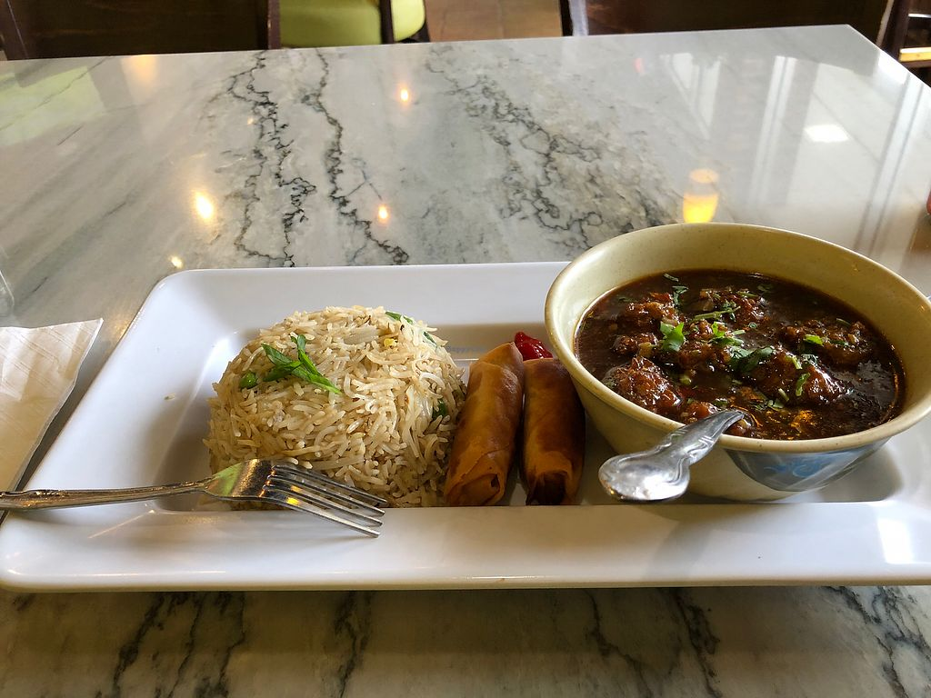 """Photo of Wok N Chop  by <a href=""""/members/profile/LeifEv"""">LeifEv</a> <br/>Vegetable Balls in Szechuan Sauce with Veggie Spring Rolls and Veggie Fried Rice <br/> April 9, 2018  - <a href='/contact/abuse/image/116232/383043'>Report</a>"""