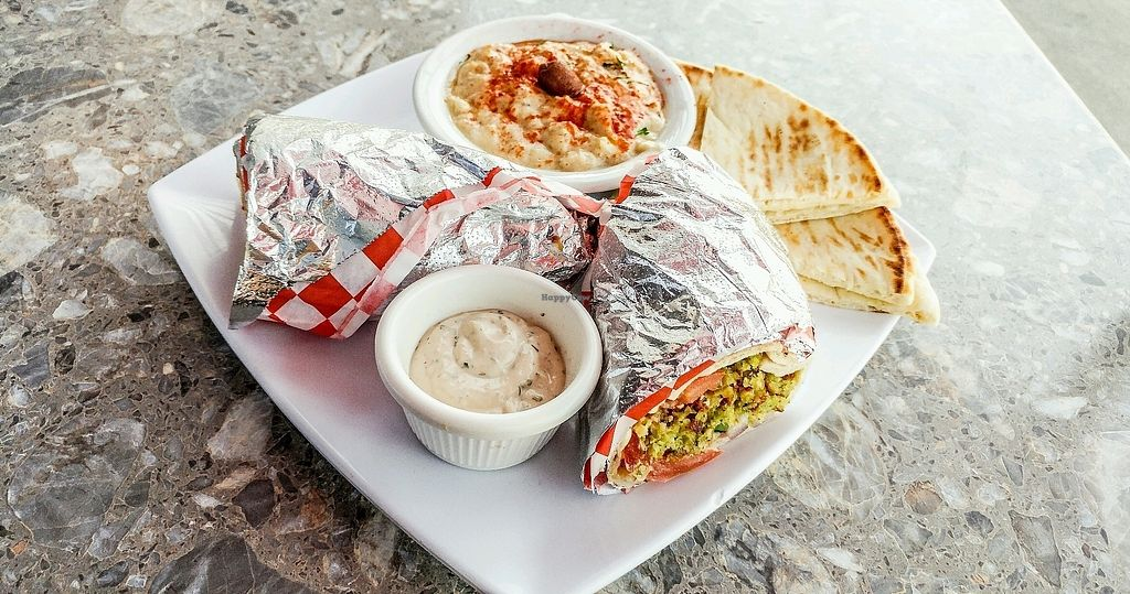 "Photo of Marilyn's Mediterranean Kitchen  by <a href=""/members/profile/Passittowill"">Passittowill</a> <br/>Falafel Sandwhich w/ Baba Ghanoush And Pita <br/> March 31, 2018  - <a href='/contact/abuse/image/116291/378541'>Report</a>"