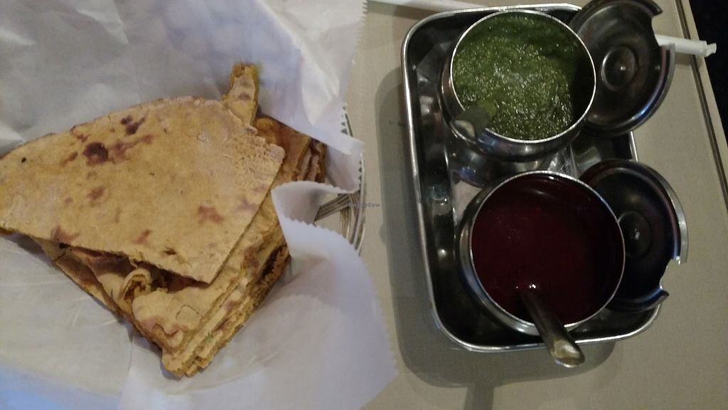 """Photo of Passage to India  by <a href=""""/members/profile/MelitaYvetteObergh"""">MelitaYvetteObergh</a> <br/>Chutney and Missi Paratha.  GREAT! <br/> August 20, 2017  - <a href='/contact/abuse/image/11635/294558'>Report</a>"""