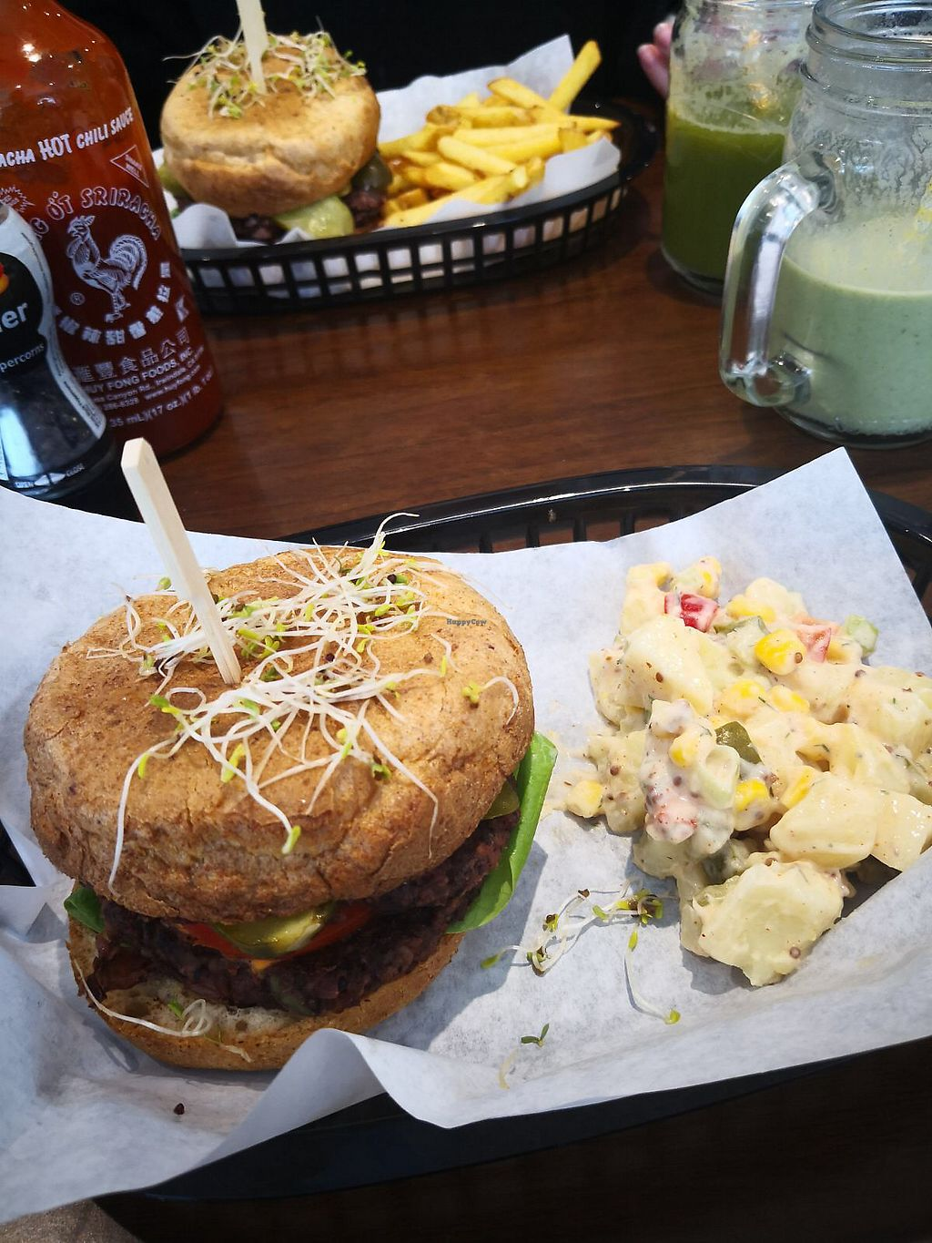 """Photo of Vutie Beets  by <a href=""""/members/profile/CharlotteBayliss"""">CharlotteBayliss</a> <br/>Bean and beet burger with potato salad and chips. Green kick juice with peanut butter smoothie ?? <br/> April 11, 2018  - <a href='/contact/abuse/image/116363/384000'>Report</a>"""