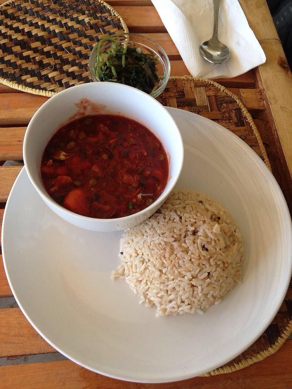 "Photo of Mlima Sayuni Art and Vegetarian Rastaurant  by <a href=""/members/profile/Alizeti"">Alizeti</a> <br/>Dish of the day, spiced brown rice, with a stew of beetroot, breadfruit, carrots etc, freshly cooked with mixed greens on the side <br/> April 1, 2018  - <a href='/contact/abuse/image/116382/379143'>Report</a>"