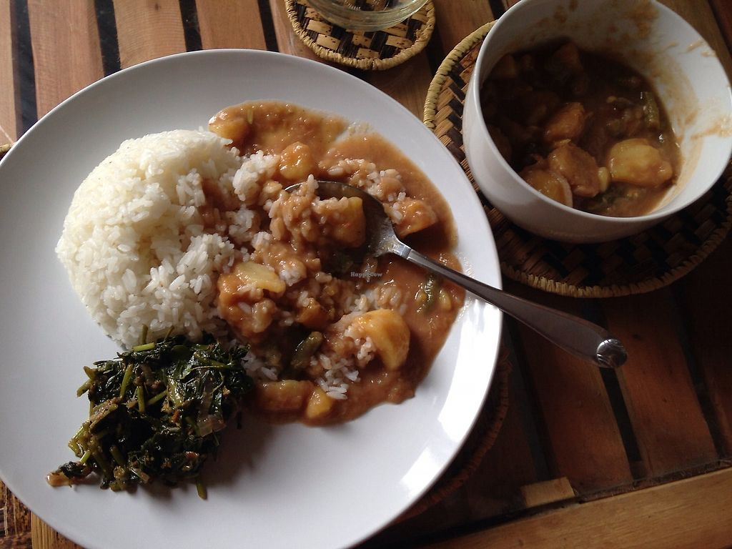 "Photo of Mlima Sayuni Art and Vegetarian Rastaurant  by <a href=""/members/profile/Alizeti"">Alizeti</a> <br/>Dish of the day. Rice with a sweet sour stew of banana and potatoes, nicely spiced. Fresh Moringa spinach on the side <br/> April 1, 2018  - <a href='/contact/abuse/image/116382/379297'>Report</a>"