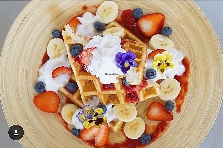 "Photo of GreenHut - Food Truck  by <a href=""/members/profile/GREENHUT"">GREENHUT</a> <br/>House Made Belgian Waffles with coconut whip cream and fresh farm fruit <br/> March 31, 2018  - <a href='/contact/abuse/image/116395/379065'>Report</a>"
