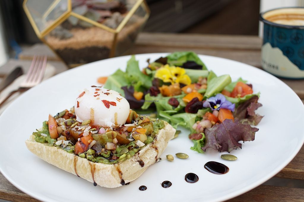 "Photo of GreenHut - Food Truck  by <a href=""/members/profile/GREENHUT"">GREENHUT</a> <br/>Avocado toast with an organic poached egg, tomato salsa, balsamic reduction, served on locally made ciabatta bread with a side house salad <br/> March 31, 2018  - <a href='/contact/abuse/image/116395/379066'>Report</a>"