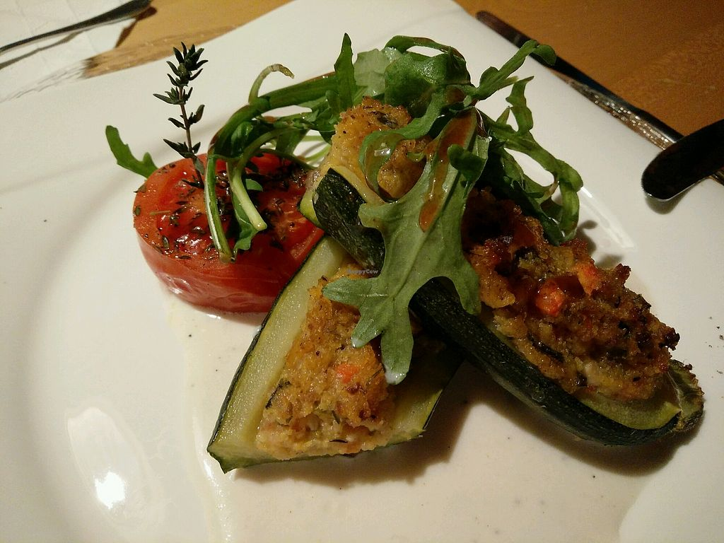 """Photo of BioHotel Schratt Restaurant  by <a href=""""/members/profile/AnnaJohnson"""">AnnaJohnson</a> <br/>Zucchini filled with polenta and grilled tomato, third course from March 24th, 2018 <br/> April 21, 2018  - <a href='/contact/abuse/image/116402/389109'>Report</a>"""