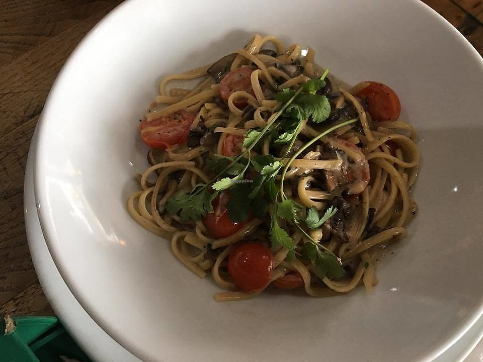 """Photo of J-Bay Bru Co  by <a href=""""/members/profile/community5"""">community5</a> <br/>Mushroom pasta <br/> April 6, 2018  - <a href='/contact/abuse/image/116438/381679'>Report</a>"""