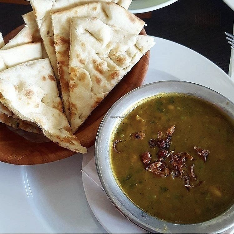 """Photo of Spice Restaurant  by <a href=""""/members/profile/Sweetveganneko"""">Sweetveganneko</a> <br/>Spinach and lentil curry with naan <br/> April 6, 2018  - <a href='/contact/abuse/image/116439/381749'>Report</a>"""