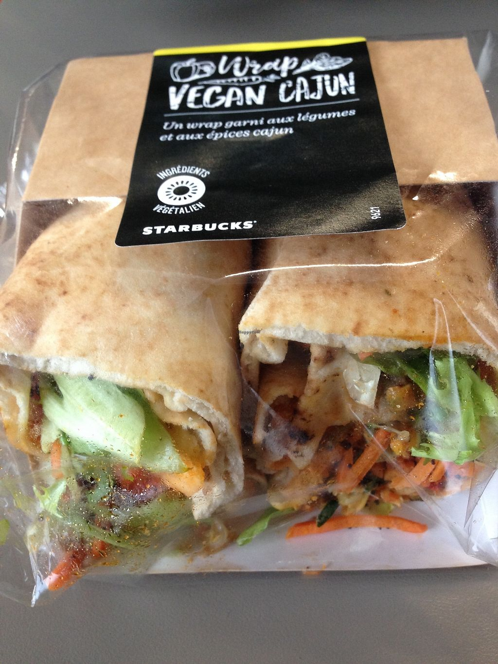"Photo of CDG - Starbucks - T2E  by <a href=""/members/profile/BarbaraMorningstar"">BarbaraMorningstar</a> <br/>Vegan humus/vege wrap. Fresh and tasty <br/> April 8, 2018  - <a href='/contact/abuse/image/116478/382710'>Report</a>"