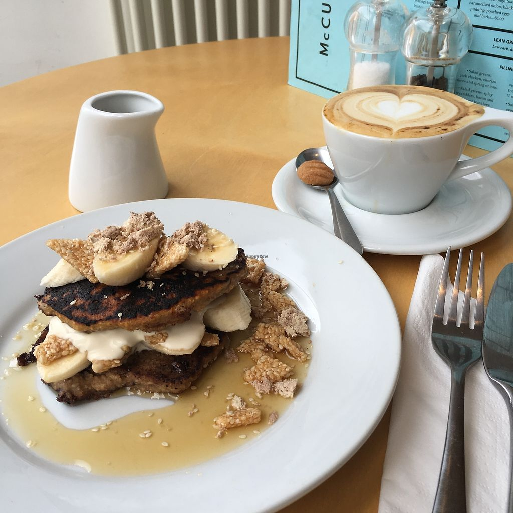 "Photo of McCune Smith Cafe  by <a href=""/members/profile/Anchorharrada"">Anchorharrada</a> <br/>Vegan oat and banana pancakes with whipped sweet tahini, banana and maple syrup <br/> April 12, 2018  - <a href='/contact/abuse/image/116563/384728'>Report</a>"