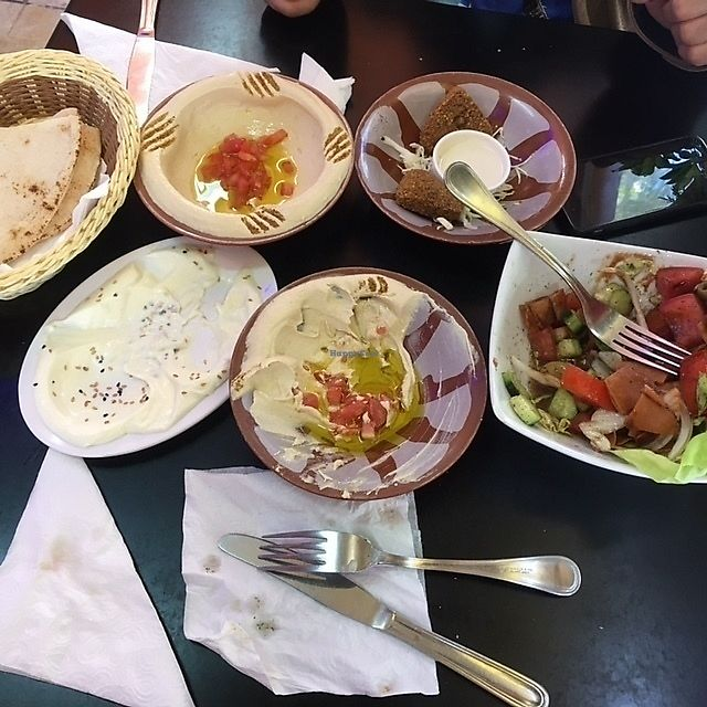 """Photo of Abtal Acham  by <a href=""""/members/profile/aami"""">aami</a> <br/>hummus, falafel, toum, fattoush <br/> April 5, 2018  - <a href='/contact/abuse/image/116614/381225'>Report</a>"""