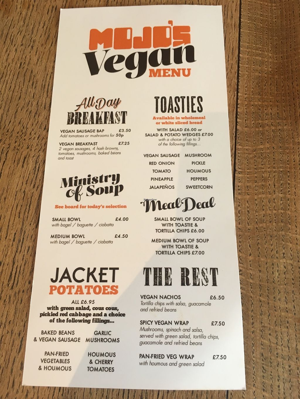"""Photo of Mojo's Music Cafe  by <a href=""""/members/profile/RealGandy"""">RealGandy</a> <br/>Vegan menu side 2 <br/> April 3, 2018  - <a href='/contact/abuse/image/116625/380181'>Report</a>"""