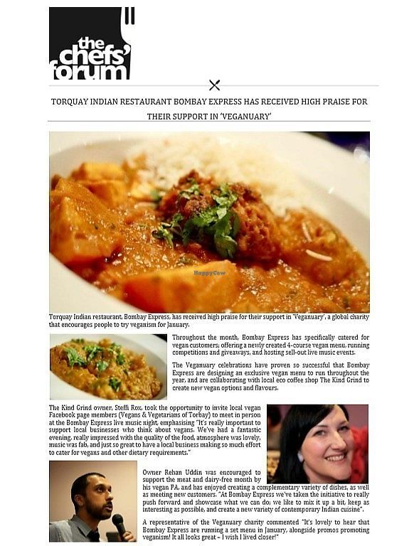 """Photo of Bombay Express  by <a href=""""/members/profile/RehanUddin"""">RehanUddin</a> <br/>Bombay Express's vegan menus and events are regularly featured in news and social media platforms <br/> April 18, 2018  - <a href='/contact/abuse/image/116747/387719'>Report</a>"""