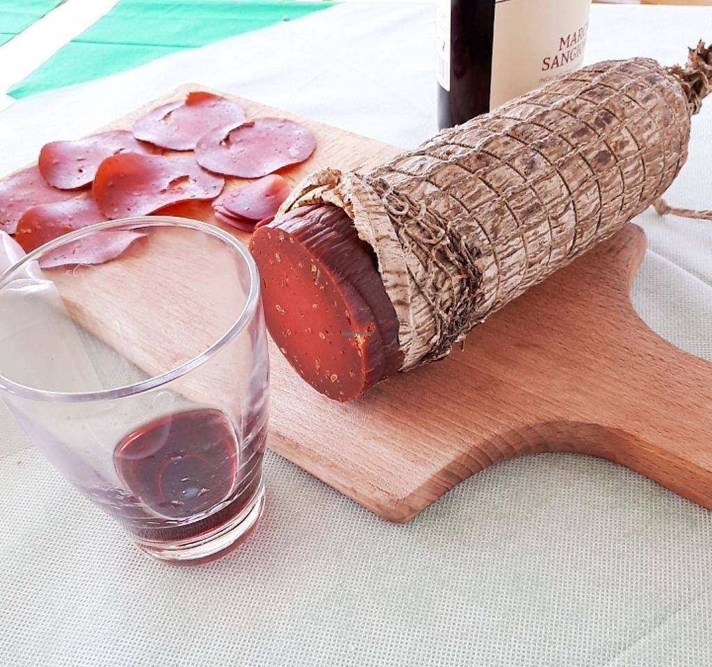 """Photo of Osteria del Parugiano  by <a href=""""/members/profile/Allyveg"""">Allyveg</a> <br/>Vegan Salami with fennel seeds! A new and delicious experience <br/> April 12, 2018  - <a href='/contact/abuse/image/116837/384558'>Report</a>"""