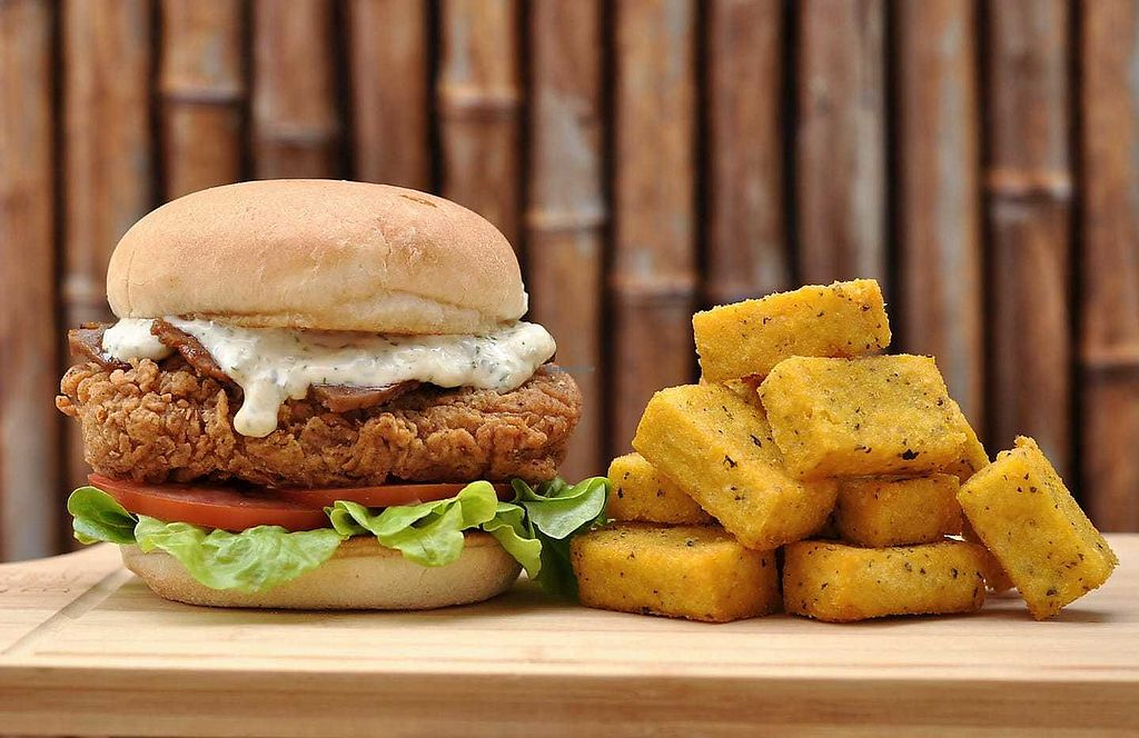 "Photo of Monchay Kitchen  by <a href=""/members/profile/verbosity"">verbosity</a> <br/>Southern Fried Burger & Polenta Chips <br/> April 7, 2018  - <a href='/contact/abuse/image/116908/382101'>Report</a>"