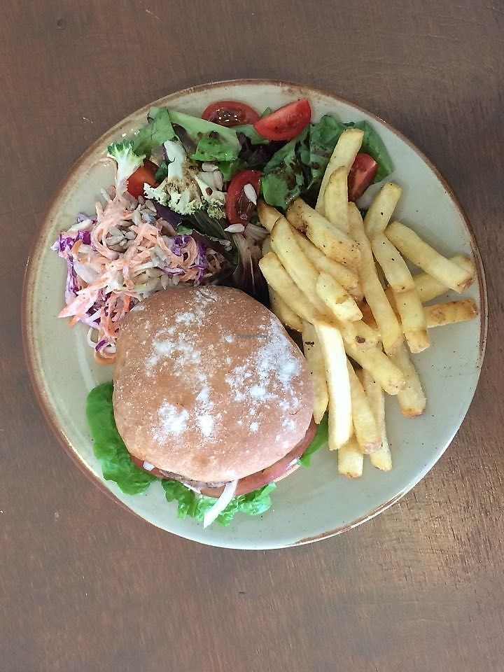"Photo of And Yu Café  by <a href=""/members/profile/andyl"">andyl</a> <br/>Homemade vegan burger, chips and salad <br/> April 12, 2018  - <a href='/contact/abuse/image/116942/384481'>Report</a>"