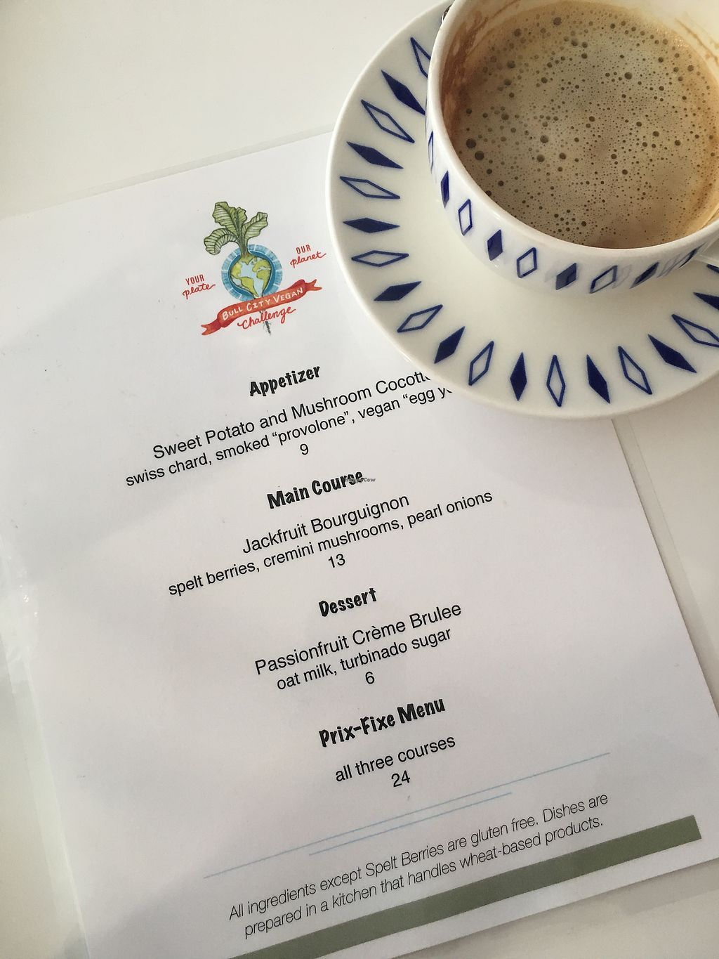 """Photo of Unscripted  by <a href=""""/members/profile/turtleveg"""">turtleveg</a> <br/>Unscripted Menu for the Bull City Vegan Challenge and Oatly cappuccino  <br/> April 8, 2018  - <a href='/contact/abuse/image/116974/382173'>Report</a>"""