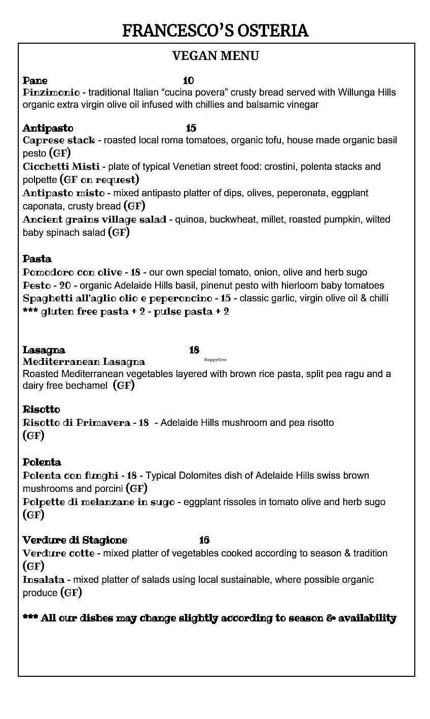 "Photo of Francesco's Osteria  by <a href=""/members/profile/SpokeyDoke"">SpokeyDoke</a> <br/>menu pg 1 of 2 <br/> April 18, 2018  - <a href='/contact/abuse/image/117016/387564'>Report</a>"
