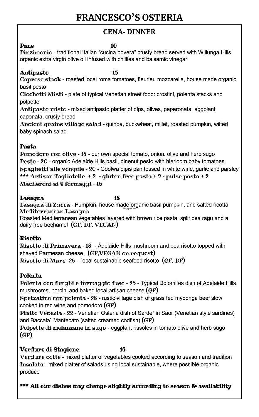 "Photo of Francesco's Osteria  by <a href=""/members/profile/SpokeyDoke"">SpokeyDoke</a> <br/>menu pg 2 of 2 <br/> April 18, 2018  - <a href='/contact/abuse/image/117016/387566'>Report</a>"