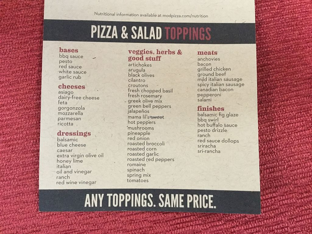 "Photo of Mod Pizza  by <a href=""/members/profile/Michael%20Isavegan"">Michael Isavegan</a> <br/>Toppings <br/> April 8, 2018  - <a href='/contact/abuse/image/117061/382209'>Report</a>"