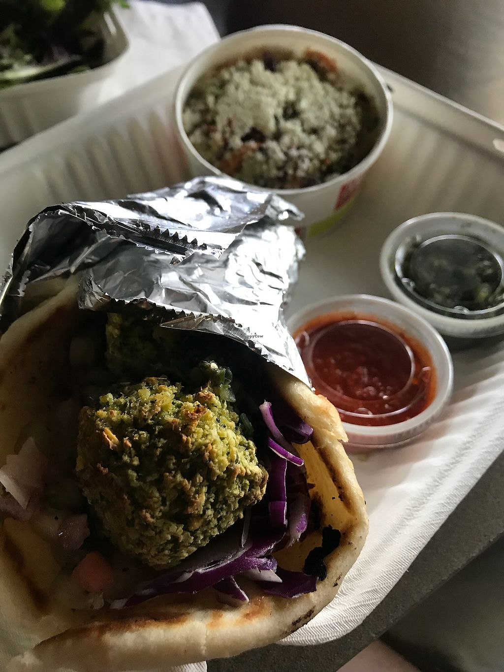 """Photo of Zoe's Kitchen  by <a href=""""/members/profile/marcgelbke"""">marcgelbke</a> <br/>Baked Falafel Pita - vegan option <br/> April 10, 2018  - <a href='/contact/abuse/image/117079/383278'>Report</a>"""