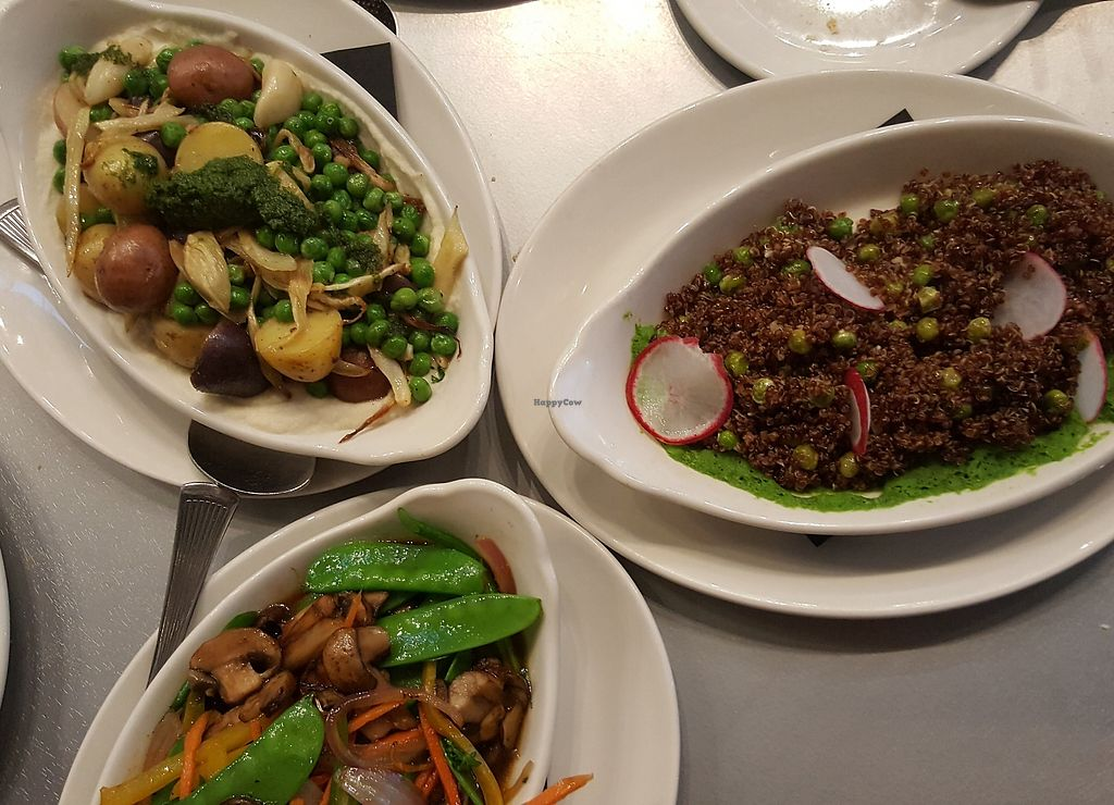 """Photo of Mitchell's Fish Market  by <a href=""""/members/profile/MBO%27Frank"""">MBO'Frank</a> <br/>From the top: in the """"Creative Additions"""" section of the menu. 1. Roasted potatoes, fennel, garlic & peas with pesto over pureéd cauliflower  2. Red quinoa with roasted radishes over pureéd peas 3. Stir fried vegetables in hoisen sauce <br/> April 7, 2018  - <a href='/contact/abuse/image/117082/382130'>Report</a>"""