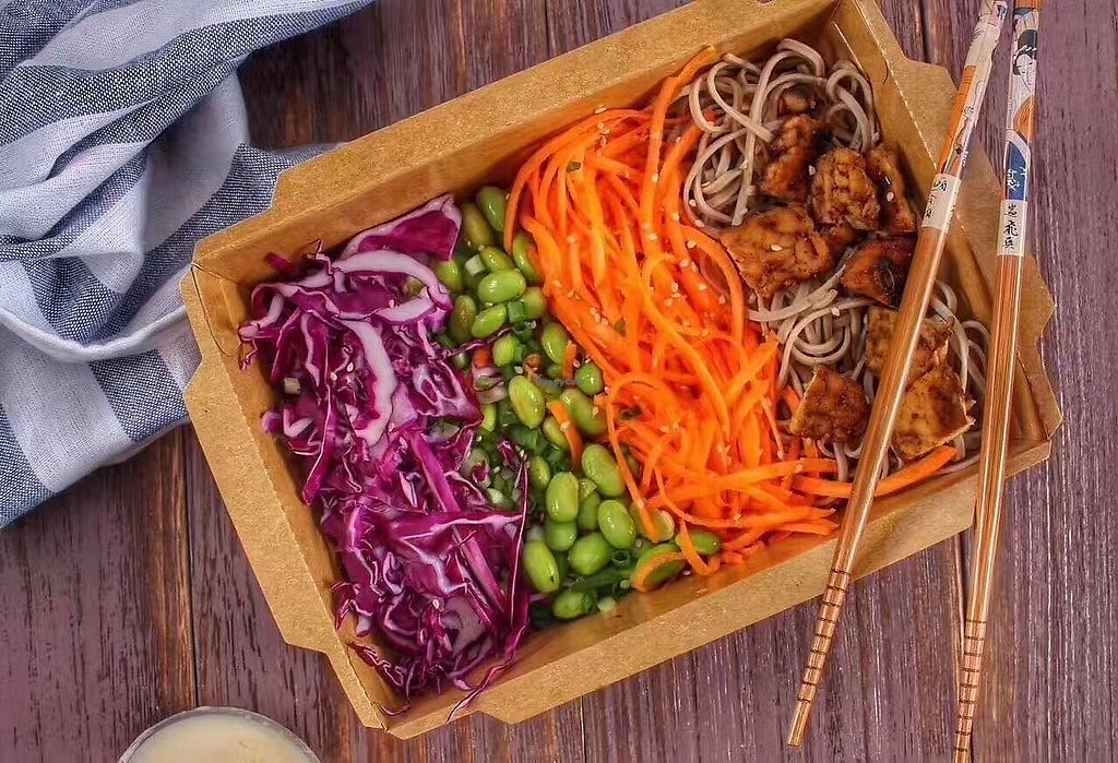"""Photo of GoVegan!  by <a href=""""/members/profile/ashermarad84"""">ashermarad84</a> <br/>Asian Buddha Bowl  Bowl Ingredients: Buckwheat Noodles , Fresh edamame, Purple cabbage, Green onion, Grated carrot,  BBQ GoVegan Tempeh , Served with Miso Tango Dressing .  Dressing Ingredients: White miso, Ginger, Organic rice vinegar,  Organic Camellia oil, Organic Agave, Sesame oil <br/> April 12, 2018  - <a href='/contact/abuse/image/117141/384638'>Report</a>"""