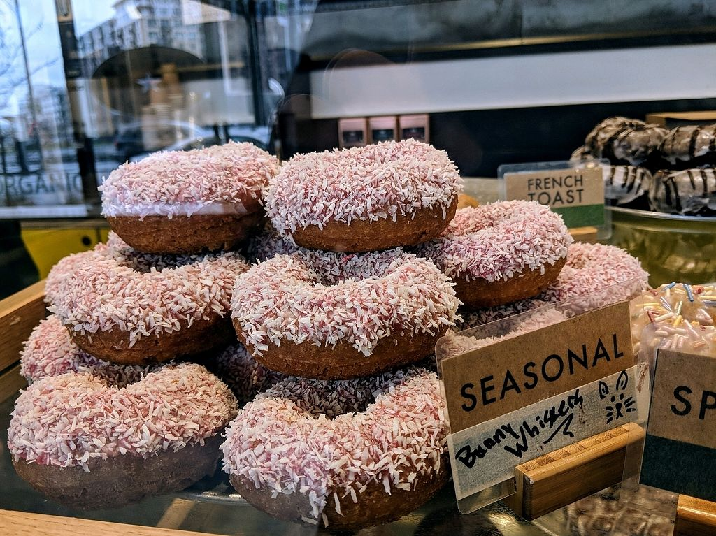"Photo of Mighty-O Donuts - Denny Triangle  by <a href=""/members/profile/The%20Hungry%20Vegan"">The Hungry Vegan</a> <br/>pile o donuts <br/> April 14, 2018  - <a href='/contact/abuse/image/117204/385735'>Report</a>"