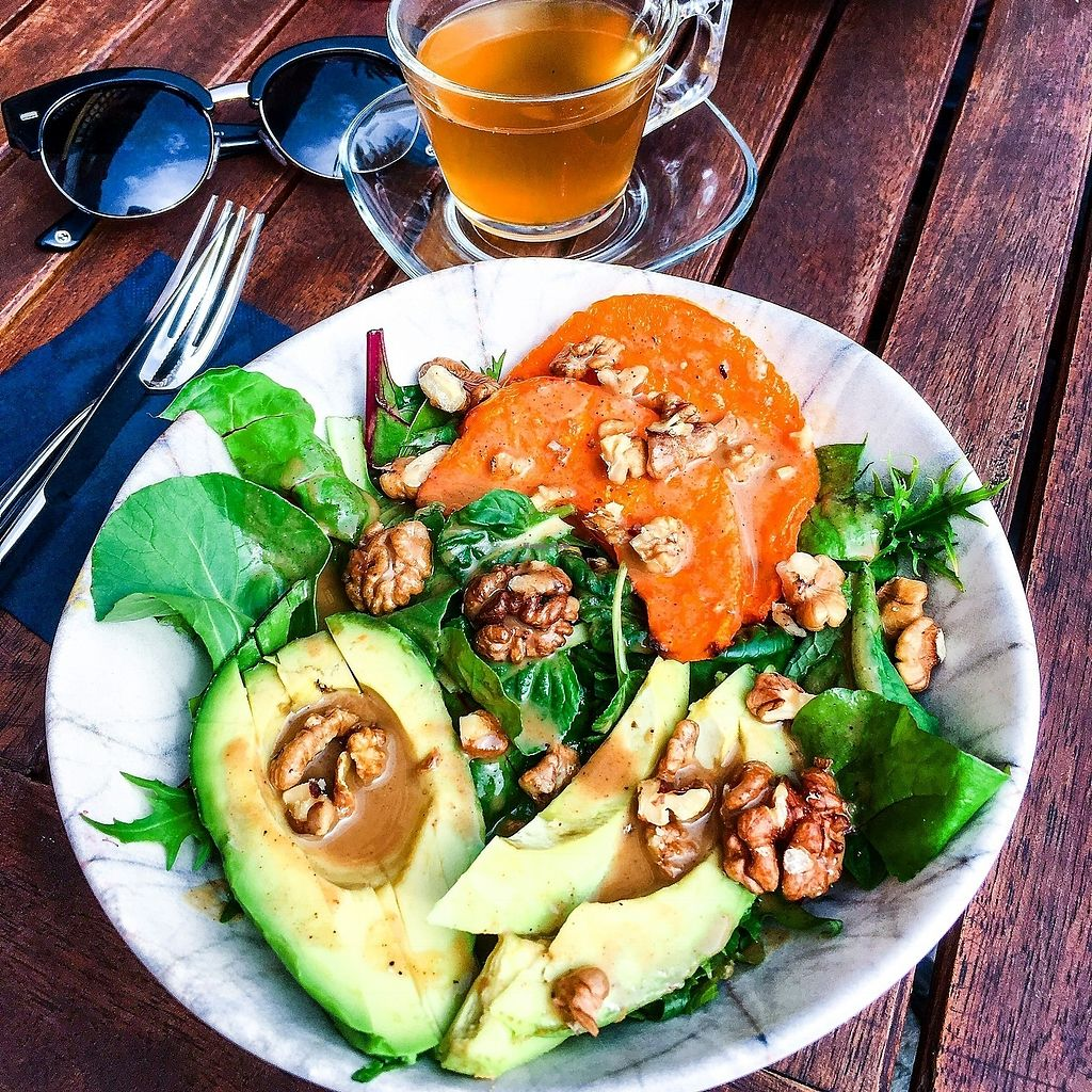 """Photo of The Juice Lounge  by <a href=""""/members/profile/Thejuicelounge"""">Thejuicelounge</a> <br/>Vitamin glow salad - seasonal leafy greens, butternut pumpkin, avocado, pecans,  <br/> April 14, 2018  - <a href='/contact/abuse/image/117252/385665'>Report</a>"""