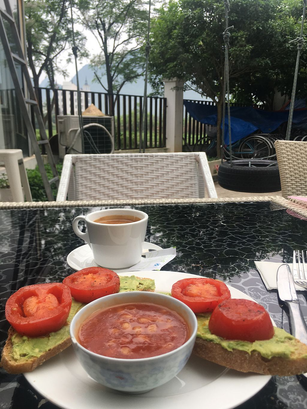 """Photo of The Organic Garden  by <a href=""""/members/profile/BaileyGranstrom"""">BaileyGranstrom</a> <br/>Avocado toast and americano breaky!  <br/> April 12, 2018  - <a href='/contact/abuse/image/117315/384425'>Report</a>"""