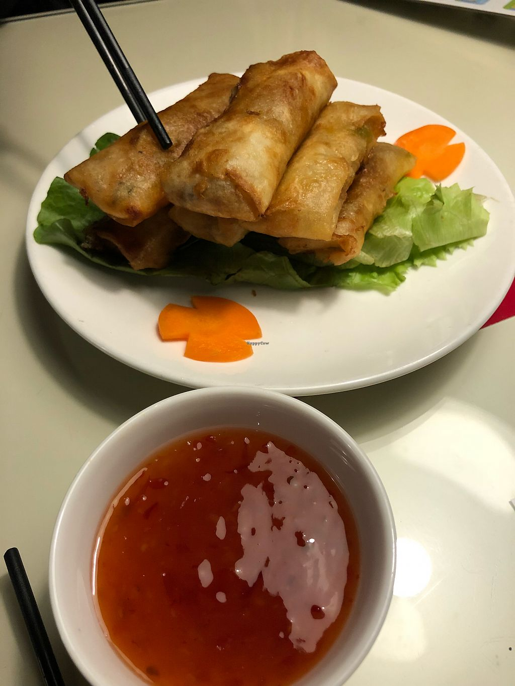 """Photo of The Organic Garden  by <a href=""""/members/profile/SteveTownshend"""">SteveTownshend</a> <br/>Veggie (Vegan) spring rolls.  Very Yummy (but lots of oil) <br/> April 14, 2018  - <a href='/contact/abuse/image/117315/385499'>Report</a>"""