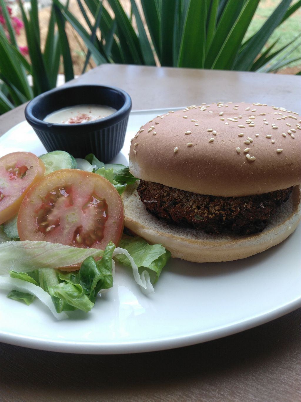 """Photo of Pig n' Whistle  by <a href=""""/members/profile/Emsglover"""">Emsglover</a> <br/>Spicy bean burger with hummus and salad <br/> April 12, 2018  - <a href='/contact/abuse/image/117345/384343'>Report</a>"""