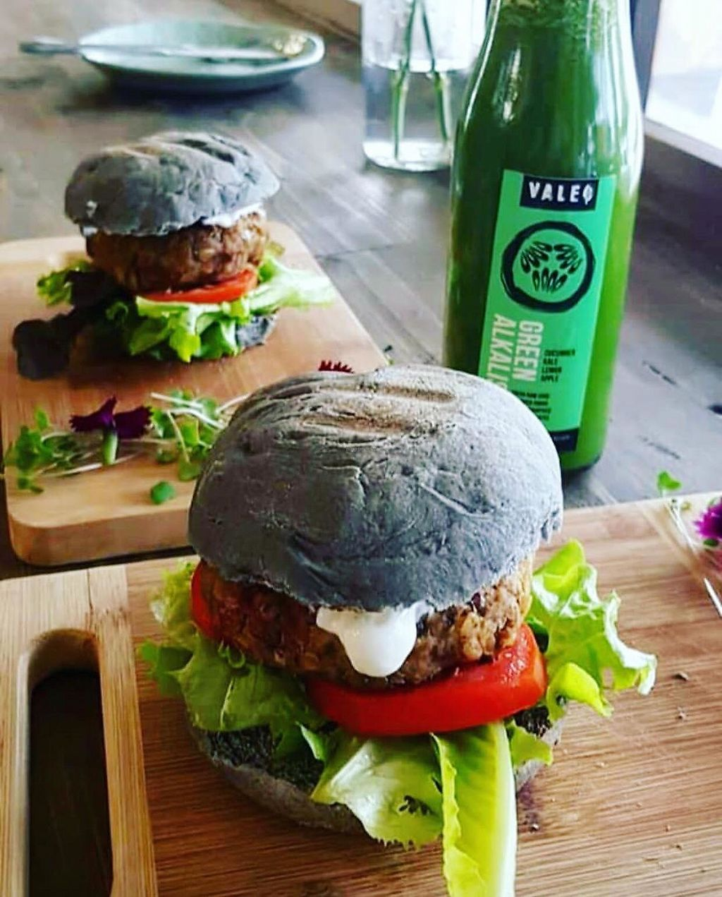 "Photo of Valeo  by <a href=""/members/profile/ThisisART"">ThisisART</a> <br/>Black burger with a meaty soy and lentil patty and vegan mayo <br/> April 20, 2018  - <a href='/contact/abuse/image/117450/388410'>Report</a>"