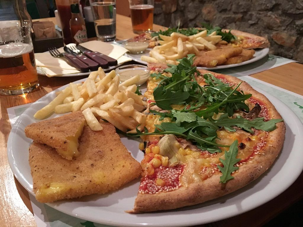 """Photo of Bullizza  by <a href=""""/members/profile/slovenianvegan"""">slovenianvegan</a> <br/>Vegan pizza and vegan fried cheese with fries.  Photo by: Nataša V. on Facebook <br/> April 12, 2018  - <a href='/contact/abuse/image/117476/384438'>Report</a>"""