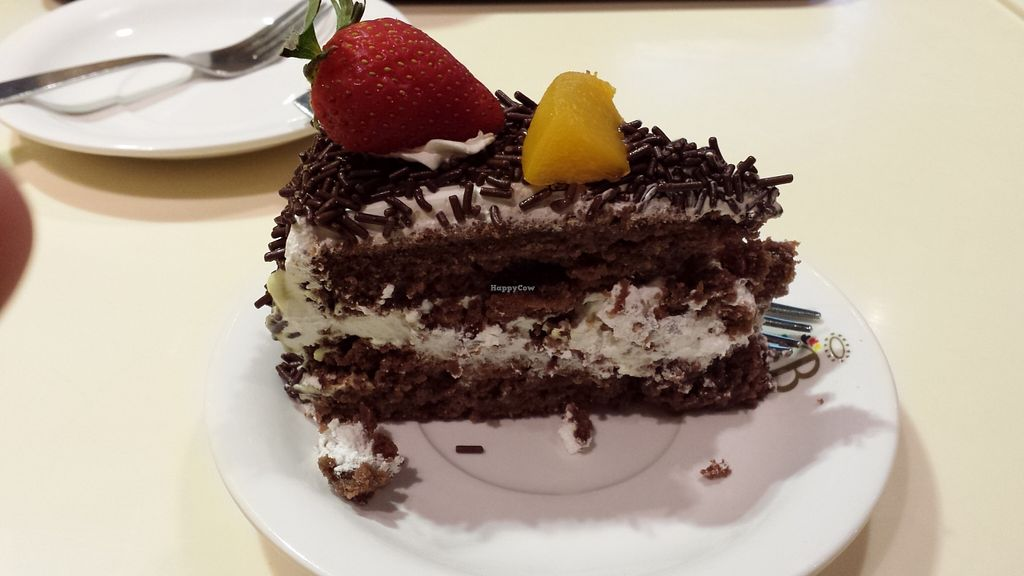 """Photo of Loving Hut - Amoy Plaza  by <a href=""""/members/profile/PuritaMok"""">PuritaMok</a> <br/>Delicious vegan black forest cheesecake <br/> March 23, 2016  - <a href='/contact/abuse/image/11753/141106'>Report</a>"""