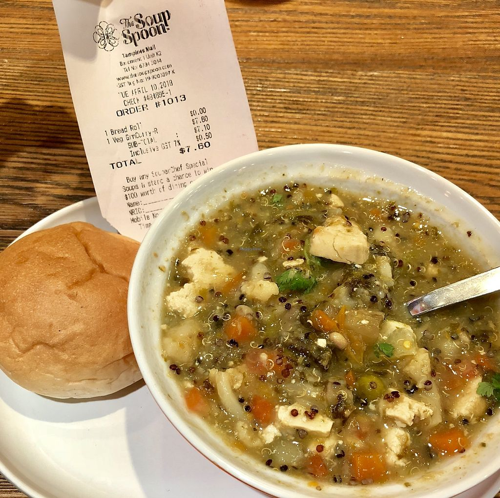 """Photo of The Soup Spoon Union  by <a href=""""/members/profile/lindyhan"""">lindyhan</a> <br/>Souperlicious special for April 2018: Vegan Green Curry. Firm tofu, quinoa, potatoes, sweet potatoes, long beans etc Spicy.  <br/> April 13, 2018  - <a href='/contact/abuse/image/117543/384832'>Report</a>"""